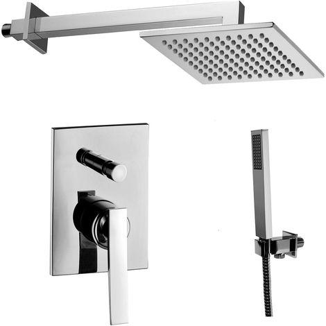 Paffoni -Solution de douche complète avec: pommeau de douche carré, mitigeur de douche encastrable avec déviateur et set de douchette.(code COMPOSIZIONE_ELYS)