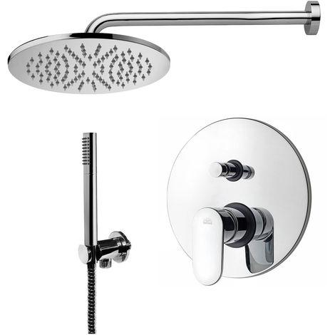 Paffoni -Solution de douche complète avec: pommeau de douche ronde, mitigeur de douche encastrable avec déviateur et set de douchette.(code COMPOSIZIONE_CANDY)