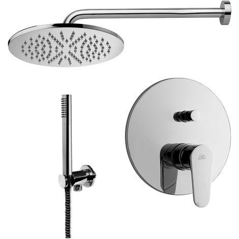 Paffoni -Solution de douche complète avec: pommeau de douche ronde, mitigeur de douche encastrable avec déviateur et set de douchette.(code COMPOSIZIONE_GREEN)