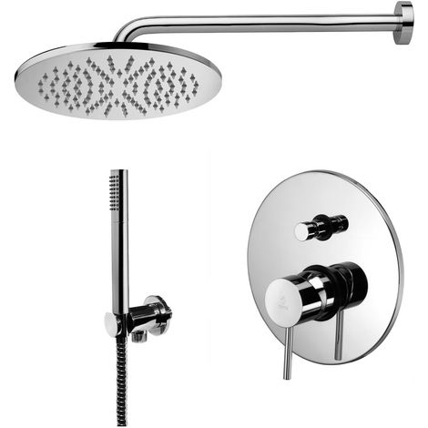 Paffoni -Solution de douche complète avec: pommeau de douche ronde, mitigeur de douche encastrable avec déviateur et set de douchette.(code COMPOSIZIONE_LIGHT)
