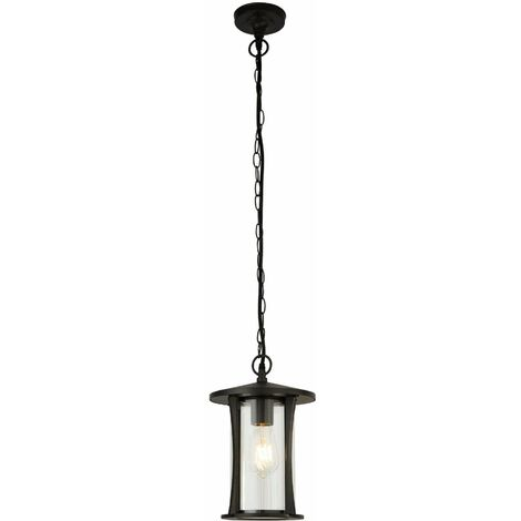 Pagoda 1-light outdoor pendant light - black with clear glass