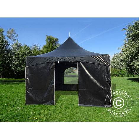Pagoda Marquee Party tent Pavilion PartyZone 4x4 m, PVC, Black