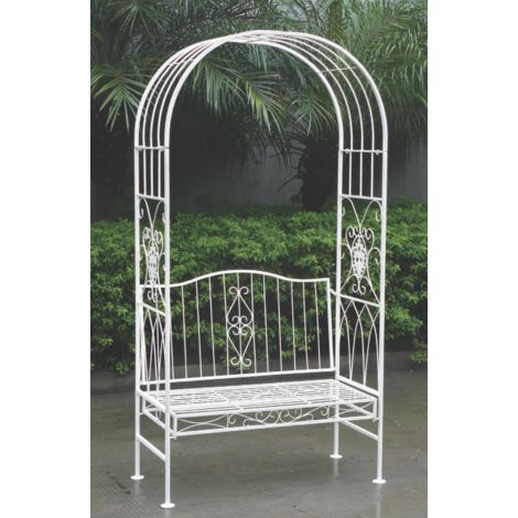 Pleasing Pagoda Turin Outdoor Garden Bench With Arch 104 X 51 X 199Cm Vintage White Caraccident5 Cool Chair Designs And Ideas Caraccident5Info