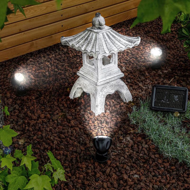 Pagode solaire avec spot LED 6500K éclairage de jardin déco Asie esotec 102552