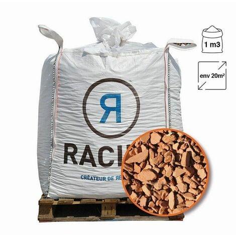 Paillage minéral décoratif en brique pilée 10/25 big bag 1 m3 pour 20m2