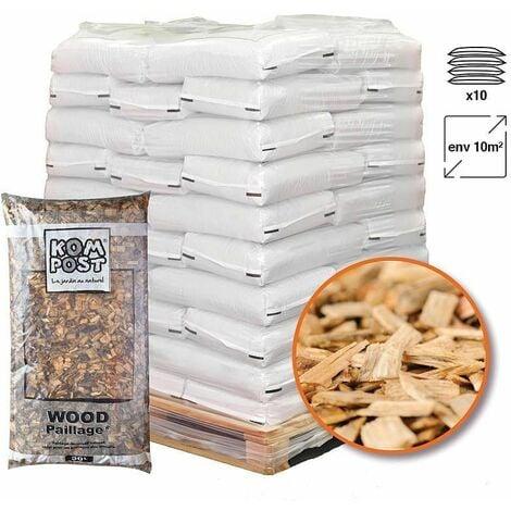 Paillage mulch végétal plaquette forestière 10 sacs 50 L pour 10m2