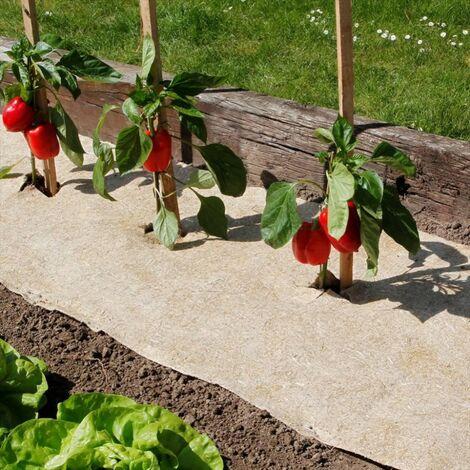 Paillage naturel 75 x 500 cm - pour jardin et potager 100% biodégradable - 500 g/m2