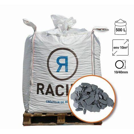 Paillage naturel ardoise grise Big bag 500 litres pour 10m2 - Calibre: 40-70 mm - Gris
