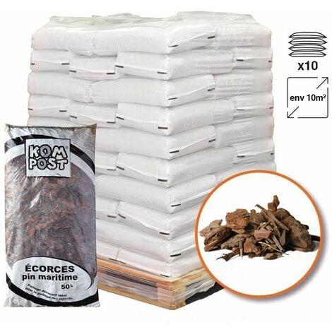 Paillage végétal biodégradable écorces de pin maritime 10 sacs 50 L pour 10m2