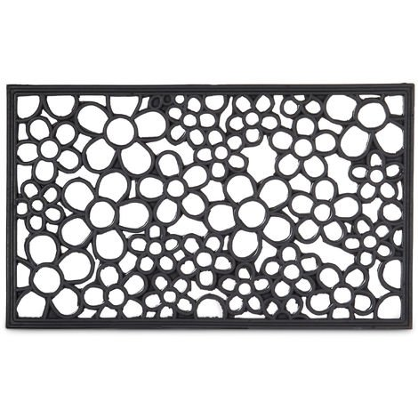 Paillasson 75x45 cm tapis de sol antidérapant caoutchouc fleurs résistant pluie neige intempéries, noir