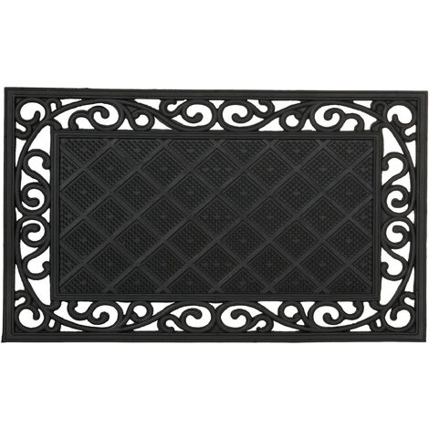 Paillasson 75x45 cm tapis de sol antidérapant caoutchouc rectangle résistant aux intempéries motifs fleurs, noir