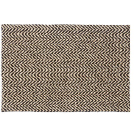Paillasson avec imprimé zigzag jute 40x60 cm tapis d'entrée tissé main, nature noir