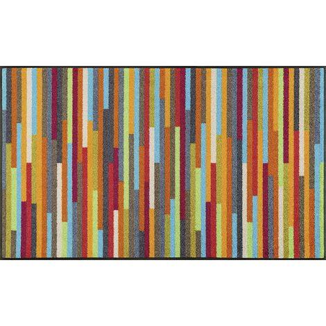 Paillasson cm Rectangulaire MIKADO STRIPES TX Multicolore Entrée adapté au chauffage par le sol