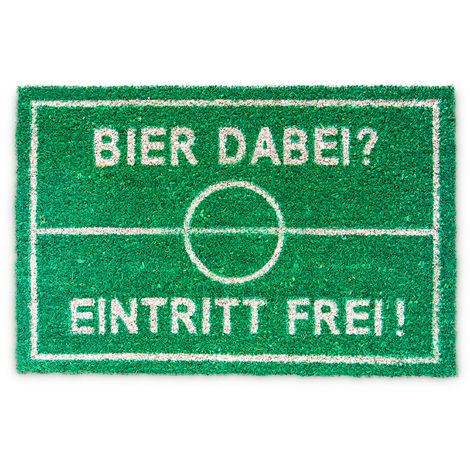Paillasson en fibre de coco Tapis d'entrée avec texte en Allemand football bière humour entrée libre Lxl: 60 x 40 cm natte de sol essuie-pieds antidérapant tapis de plancher sol, vert