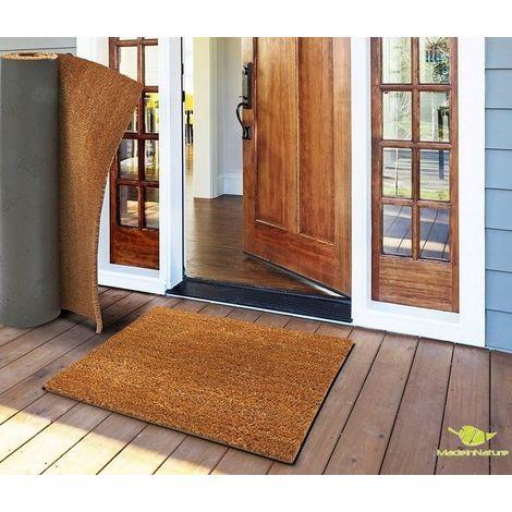 Paillasson en fibre de coco tapis d'entrée paillasson au mètre largeur 120cm hauteur 24mm