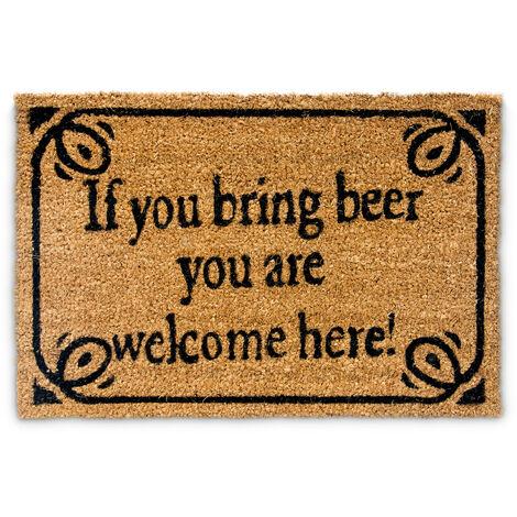 """Paillasson en fibres de coco inscription anglais """"si tu amènes une bière tu es bienvenu"""" tapis de sol Lxl: 60 x 40 cm natte entrée essuie-pieds tapis de plancher antidérapant PVC, brun"""