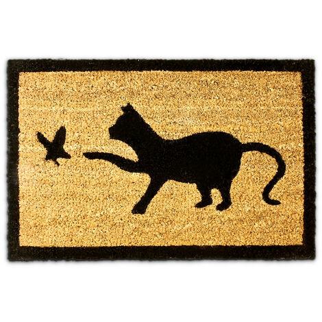 Paillasson en fibres de coco Tapis de sol porte d'entrée accueil motifs chat et oiseau 40 x 60 cm dessous antidérapant caoutchouc PVC essuie-pieds saleté intérieur extérieur, marron