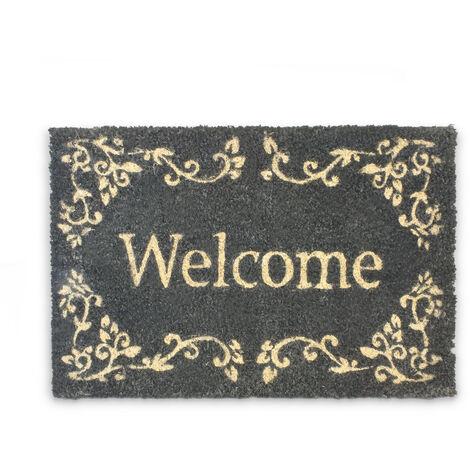 Paillasson en Fibres de Coco tapis de sol Porte d'entrée Accueil Welcome 40 x 60 cm dessous antidérapant caoutchouc PVC essuie-pieds natte plancher motifs ornements, noir