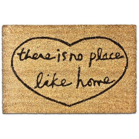 """Paillasson en fibres de coco tapis de sol porte d'entrée """"there is no place like home"""" 40 x 60 cm essuie-pieds intérieur extérieur saleté dessous antidérapant PVC caoutchouc, marron"""