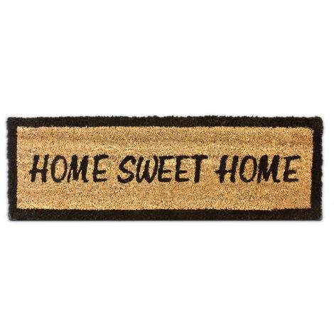 Paillasson en fibres de coco Tapis de sol porte entrée HOME SWEET HOME rectangulaire 25 x 75 cm essuie-pieds intérieur extérieur dessous antidérapant caoutchouc PVC saleté, marron