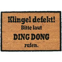 Paillasson fibre de coco DING DONG 40 x 60 cm tapis d'entrée porte extérieur antidérapant PVC, nature/noir