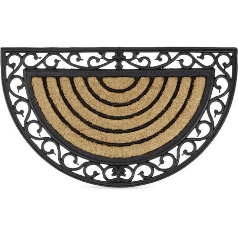 Paillasson fibres de coco 75x45 cm tapis de sol antidérapant demi-rond rayé motifs résistant aux intempéries, noir/nature
