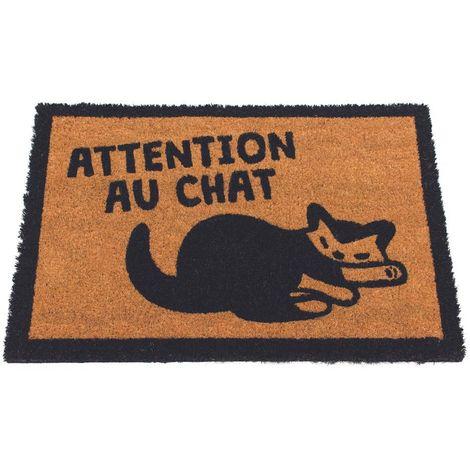 Paillasson fibres de coco Attention au chat