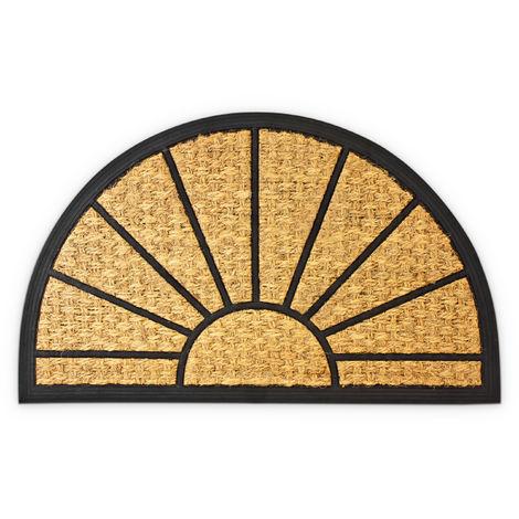 Paillasson fibres de coco Tapis de sol porte d'entrée forme demi-lune 75 x 45 cm dessous antidérapant caoutchouc PVC essuie-pieds saleté intérieur extérieur, marron
