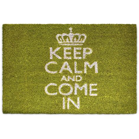 """Paillasson """"Keep Calm and Come"""" Tapis de sol en fibres de coco tapis de plancher accueil 40 x 60 cm antidérapant PVC caoutchouc essuie-pieds intérieur extérieur entrée natte, vert"""