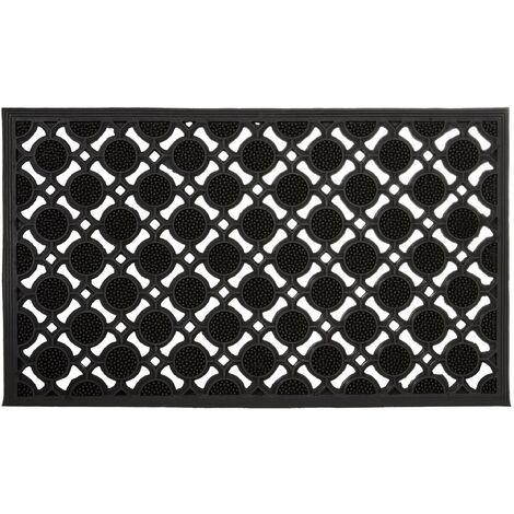 Paillasson tapis de sol en caoutchouc antidérapant noir - Noir