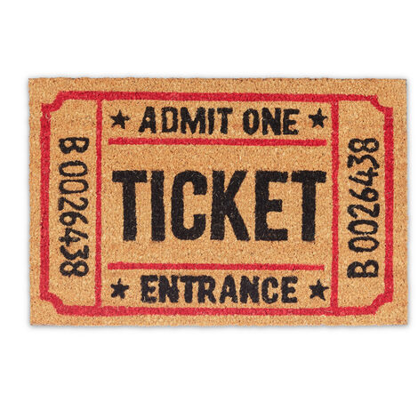 Paillasson Tickets d'entrée en fibres de coco, HxlxP: 1,5 x 60 x 40 cm, extérieur, antidérapant, vintage fibres de coco, caoutchouc, plusieurs couleurs