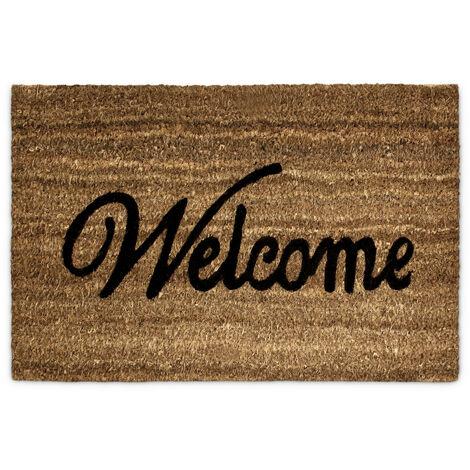 Paillasson WELCOME en fibres de Coco tapis de sol pour porte entrée 60 x 40 cm natte dessous antidérapant caoutchouc PVC essuie-pieds saleté intérieur extérieur intempéries, marron