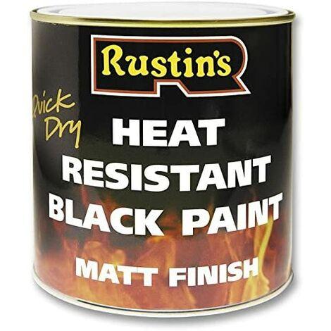 PAINT, HEAT RESISTANT, BLACK, 500ML HRMB500 By RUSTIN'S