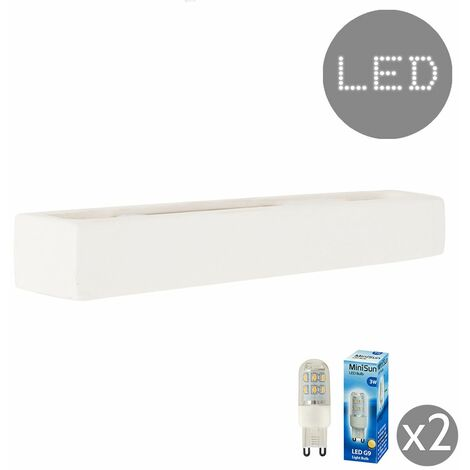 Paintable Rectangular Ceramic Wash Wall Lamp + 3W LED G9 Bulbs