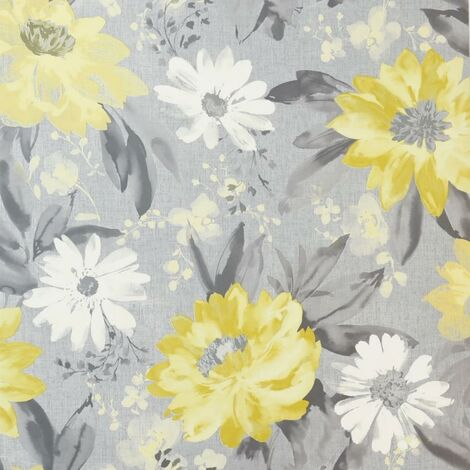 Painted Dahlia Floral Ochre Wallpaper Flower Grey and Yellow Wall Covering