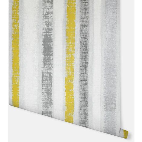 Painted Stripe Ochre & Grey Wallpaper - Arthouse - 296900