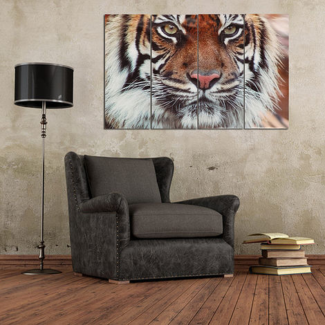 Painting Oil Bengal Tiger Art Picture Modern Frameless Wall Decoration Home