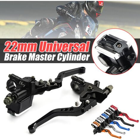 Pair 7/8 '' Universal Motorcycle Brake Clutch Lever Master Cylinder Reservoir 12.7mm (Black, Type B)