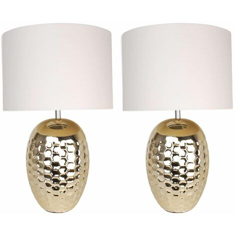 PAIR CERAMIC BEDSIDE TABLE LIGHT PALE GOLD FINISH WHITE or BLACK FABRIC SHADE