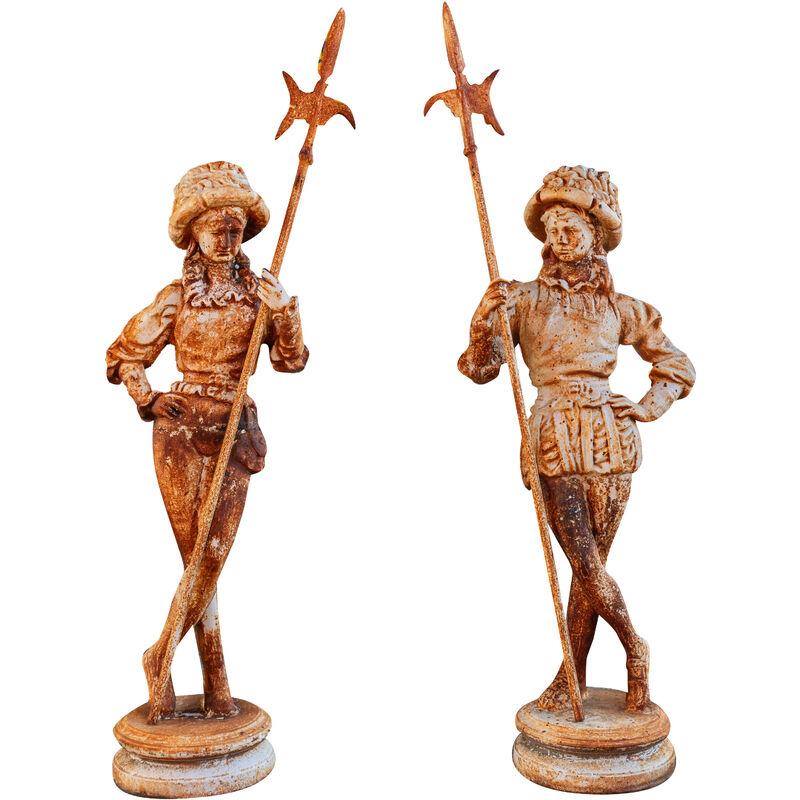 Pair de statues en fonte finition blanche veillie L57xPR35xH167 cm