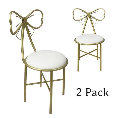 Pair Dressing Table Stool Velvet Chair Bedroom Makeup Vanity Chair Backrest white 80x29cmx45cm 2 pack