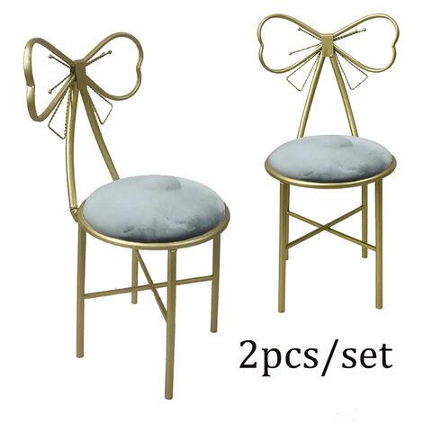 Pair Dressing Table Stool Velvet Chair Bedroom Makeup Vanity Chair w/ Backrest grey 80x29x45cm