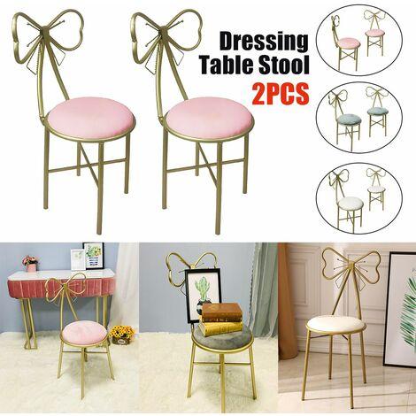 Pair Dressing Table Stool Velvet Chair Bedroom Makeup Vanity Chair w / Backrest (White, 1 pair)