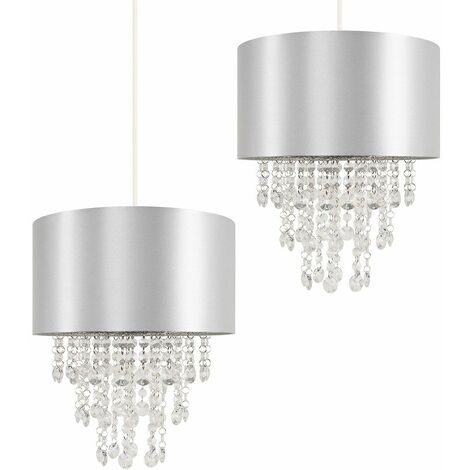Pair Grey Ceiling Pendant Light Shades with Clear Acrylic Jewel Droplets