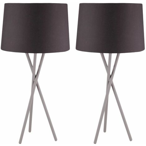 Pair Grey Copper Chrome Tripod Table Lamp Bedside Black, Grey or White Shade
