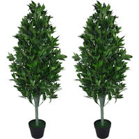 Pair of 120cm (4ft) Artificial Topiary Bay Trees Pyramid Cones - Extra Large