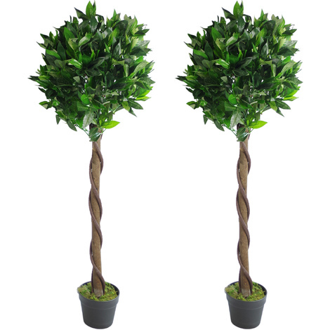 Pair Of 120cm 4ft Twisted Stem Artificial Topiary Bay