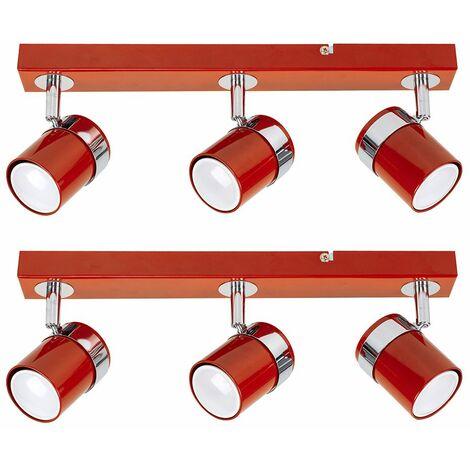 Pair Of 3 Way Straight Bar Ceiling Spotlights