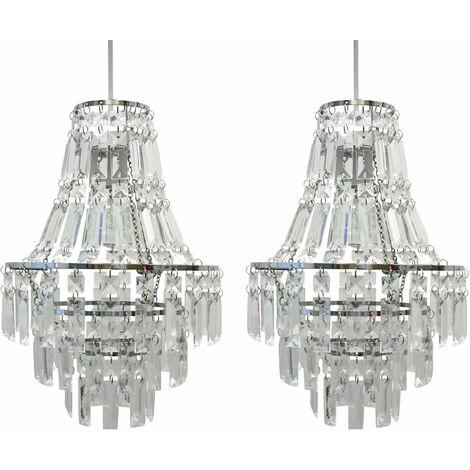 Pair of Acrylic Crystal Tiered Chandelier Style Light Shades