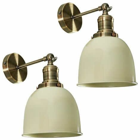 Pair Of Adjustable Knuckle Joint Wall Lights + 4W LED Filament Amber Light Bulbs - Cream - Gold